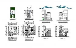 AutoCAD drawing of bungalow 8.00mtr x 7.60mtr with different elevation and section