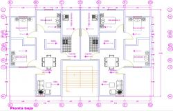 Autocad Attached House Plan Drawing