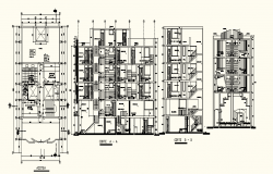 Autocad Drawing of Hostel with different Section and Elevation