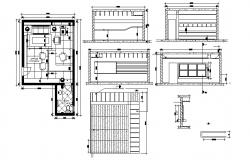 Autocad Drawing of office interior design 19'2'' x 22'0'' with ceiling plan