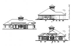 Autocad Drawing of the house with different elevation