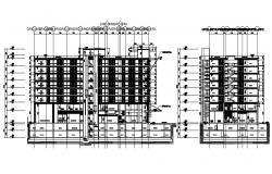 Autocad Drawing of the longitudinal section of the hotel building with detail dimension