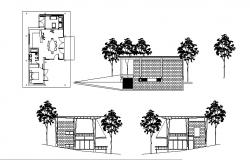Autocad Drawing of tourist cabin with different elevation