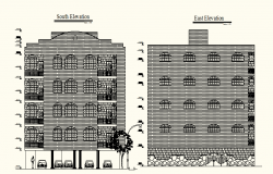 Autocad drawing of Multi storey Residential Building with different elevation