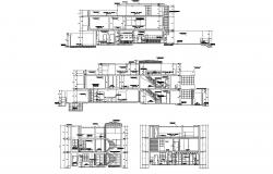 Autocad drawing of a residential house with detail dimension in dwg file