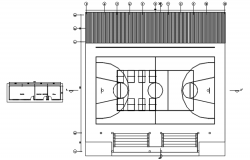 Autocad drawing of basketball layout