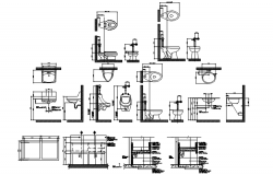 Autocad drawing of bathroom fixtures detail