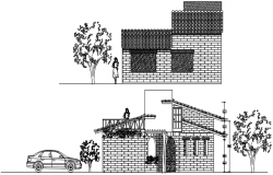 Autocad drawing of bungalow elevation