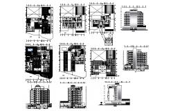 Autocad drawing of hotel with elevations
