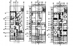 Autocad drawing of house 9.85mtr x 29.85mtr with furniture details