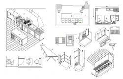 Autocad drawing of kitchen layout