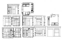 Autocad drawing of kitchen layout with elevations