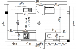 Autocad drawing of kitchen plan with detail dimension