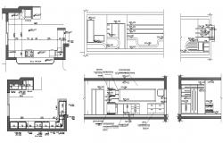 Autocad drawing of kitchen with sections