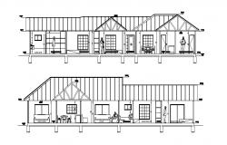 Autocad drawing of residential apartment 4.43mtr x 23.40mtr
