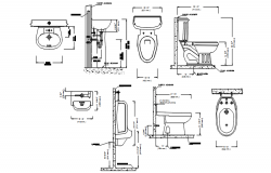 Autocad drawing of sanitary blocks