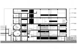 Autocad drawing of sectional elevation of commercial building