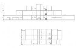 Autocad drawing of sectional elevation of exhibition center