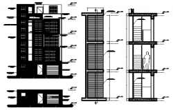 Autocad drawing of sectional elevation of the apartment