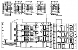 Autocad drawing of sectional elevation of the residential apartment