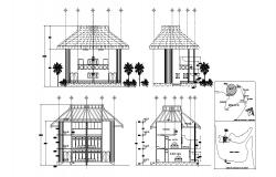 Autocad drawing of sectional elevation of villa
