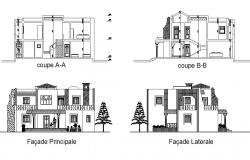 Autocad drawing of sectional elevations of bungalows