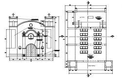 Autocad drawing of the Catholic church with elevation