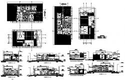 Autocad drawing of the bungalow with detail dimension in dwg file