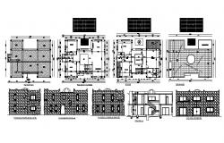 Autocad drawing of the house with elevations and sections