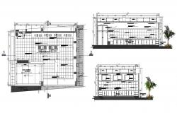 Autocad drawing of the kitchen with sections