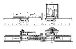 Autocad drawing of the main entrance with detail dimension