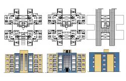 Autocad drawing of the residential apartment with elevations