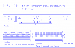 Automatic equipment detail view for driving of door dwg file