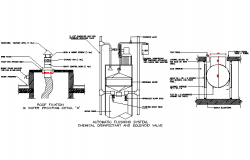 Automatic flushing system, chemical disinfectant, and solenoid valve detail dwg file