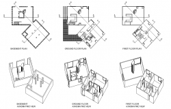 Axonometric basement and first floor plan autocad file