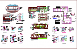 B.Ed collage plan and elevation view with structural design dwg file