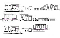 BMW showroom all sided elevation and sectional plan details dwg file