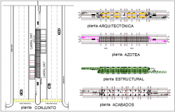 BRT set plan view with architectural and structural plan view dwg file