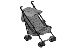 Baby trolly chair 3d