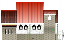 Back Elevation Catholic Center Architecture Design dwg file