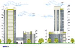 Back elevation of multi-flooring finance center dwg file