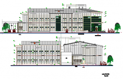 Back elevation view of multi-specialty hospital project dwg file