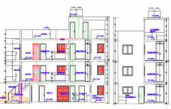 Back section plan of multi-family housing building dwg file
