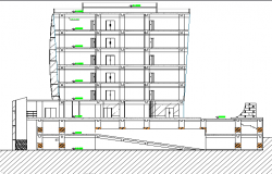Back sectional view details of multi-level office building dwg file