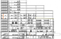 Back sectional view details of multi-level shopping mall dwg file