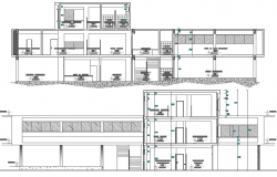 Back sectional view of administrative building dwg file