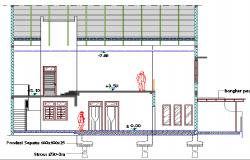 Back sectional view of shopping center details dwg file
