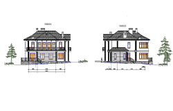 Back side elevation of bungalow dwg file