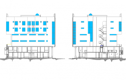 Back side elevation of complex dwg file
