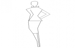 Back view of women elevation cad design block dwg file